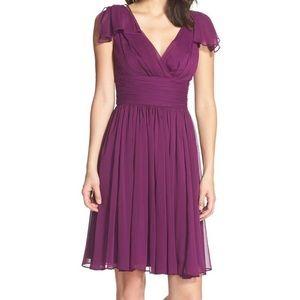 Flutter Sleeve Chiffon Fit & Flare Dress